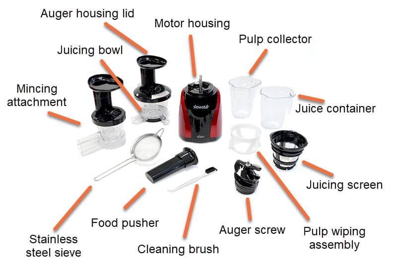 Diagram of Tribest Slowstar Slow Juicer SW parts