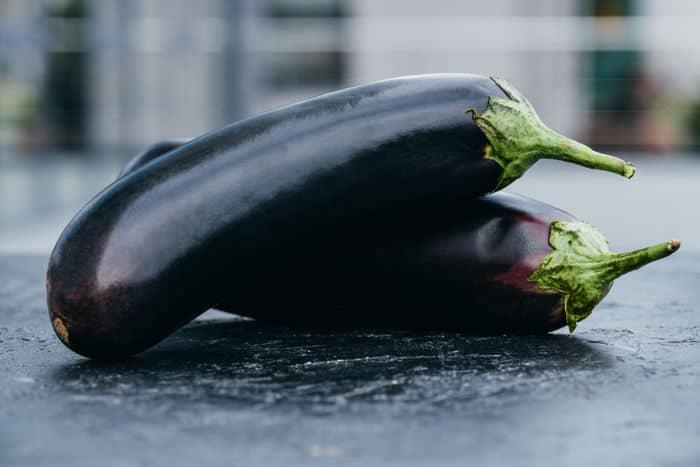 Image of eggplants photographed outdoor