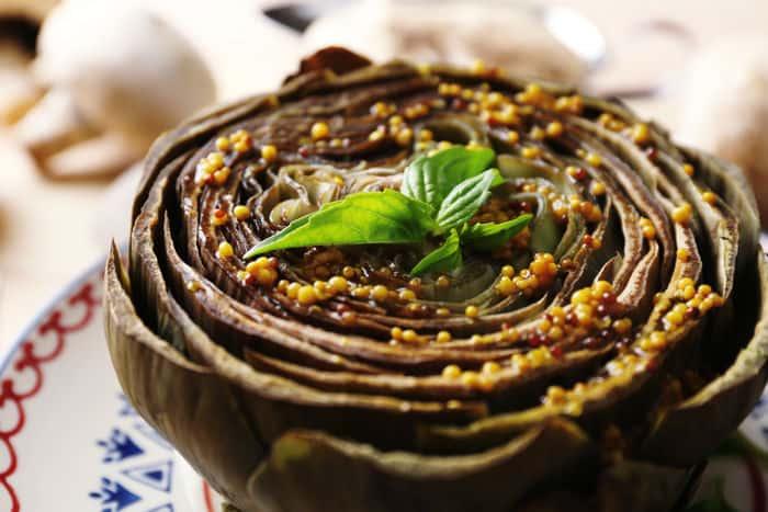 Image of baked artichoke on a plate