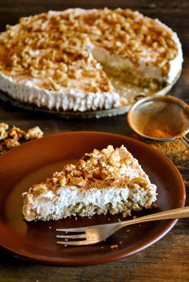 Cake with Coconut Whip, Baked Apples and Walnuts