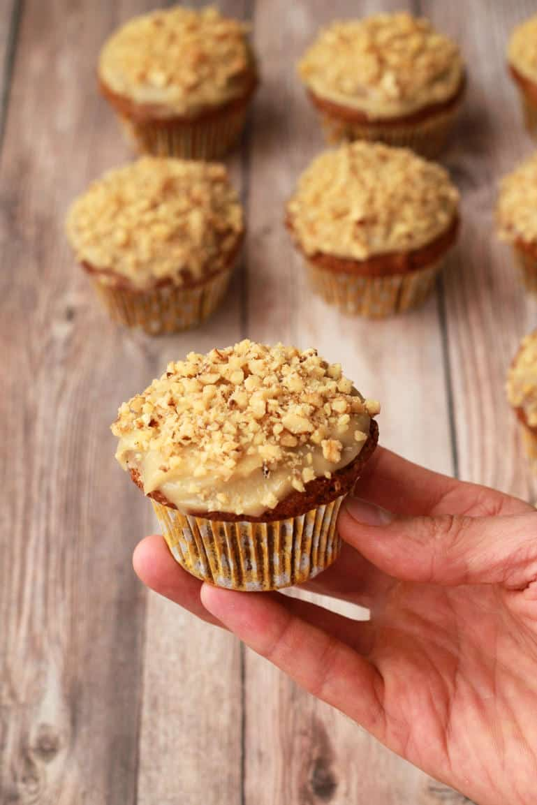Carrot Cake Cupcakes with Cashew Cream Frosting