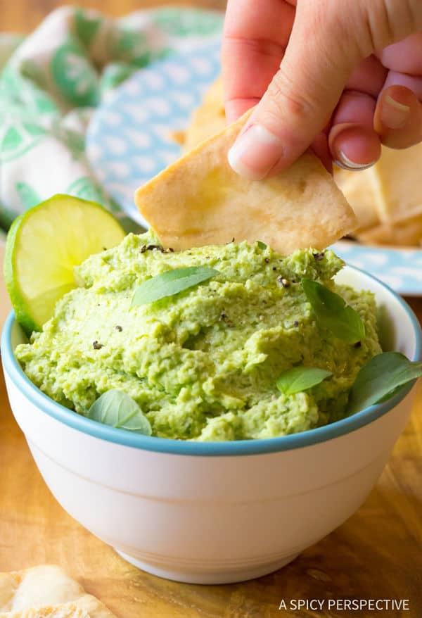 Creamy Avocado Edamame Hummus