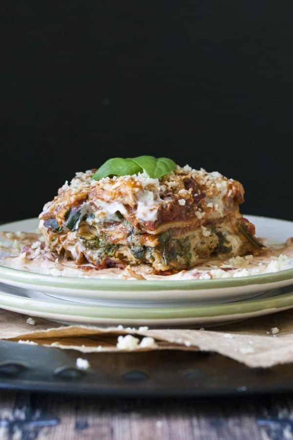 Creamy Pesto, Tomato and Sausage Lasagna
