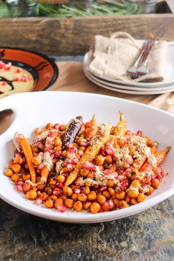 Harissa Roasted Carrots & Chickpeas with Pomegranate, Tahini & Dukkah