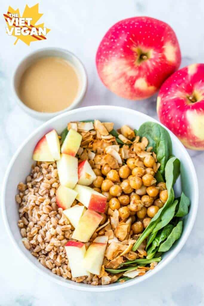 Apple Farro Bowls With Maple Tahini Dressing