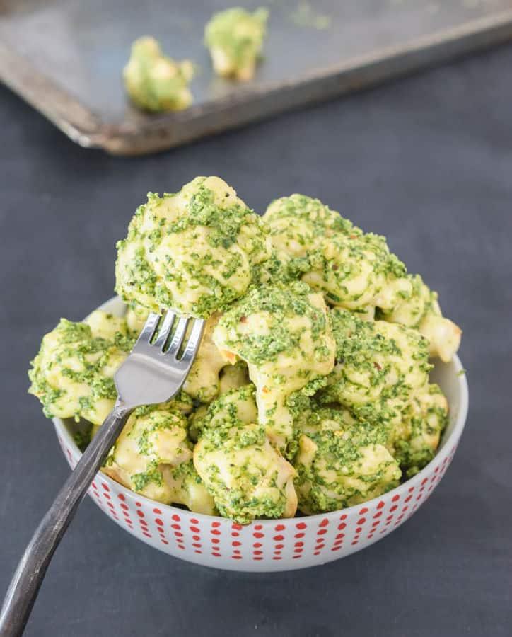 Baked Cauliflower Bites with Spicy Pesto