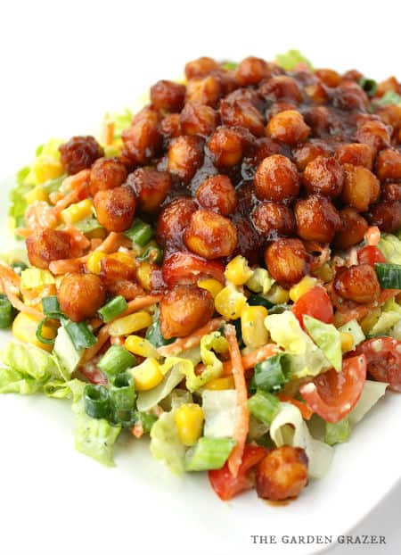 BBQ Chickpea Chopped Salad With Avocado Ranch