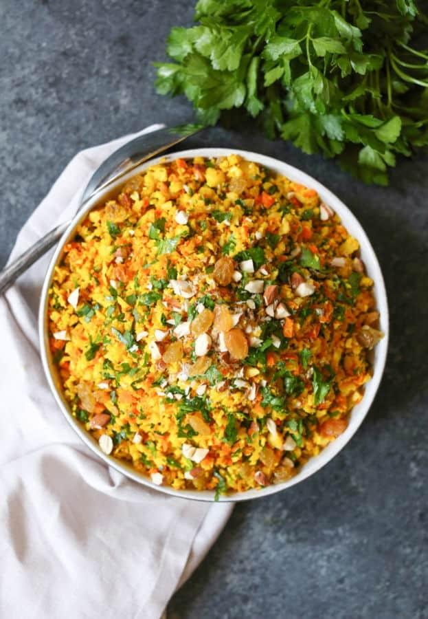 """Cauliflower-Carrot Golden """"Rice"""""""