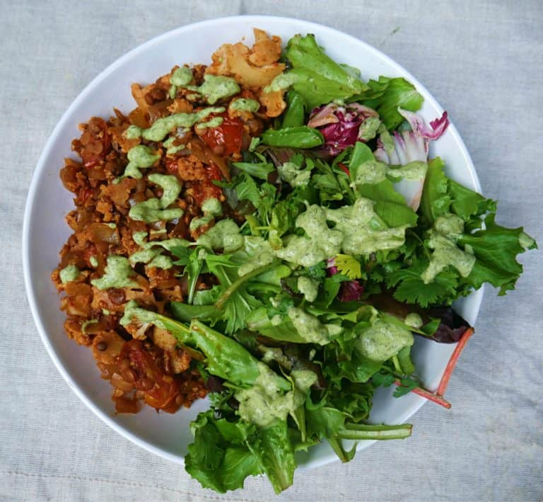 Cauliflower Lentil Stew with Tzatziki Recipe