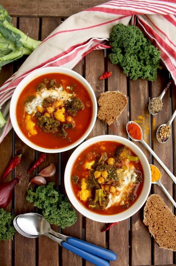 Cauliflower Stew with Broccoli, Chick Peas and Kale