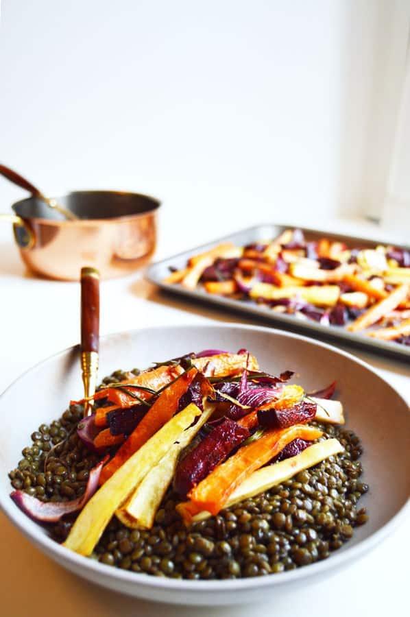 Colourful Root Vegetable Warm Lentil Salad