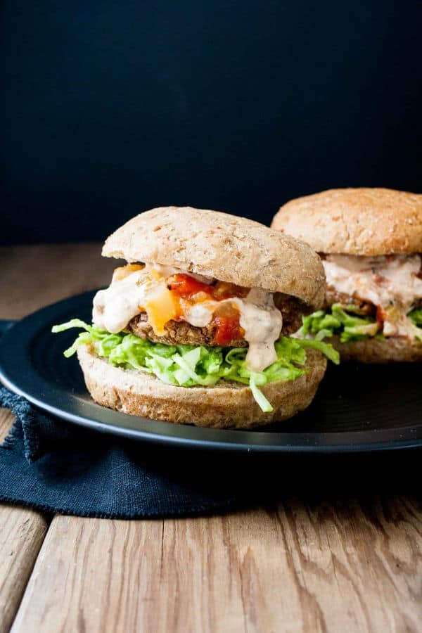 Easy Grillable Sweet and Spicy Black Bean Burgers with Mango Habanero Cream