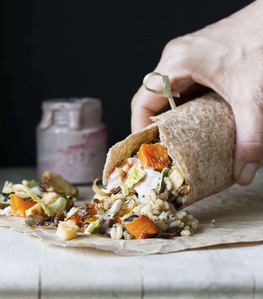 Fall Harvest Burrito with Homemade Vegan Mayo
