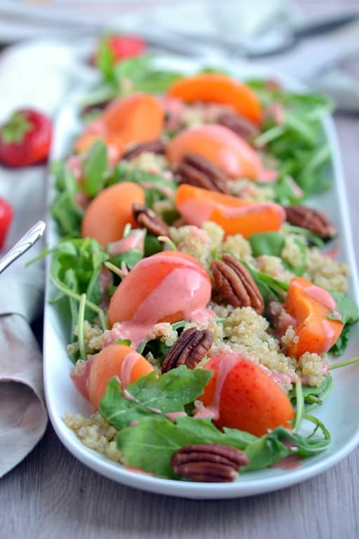 Fresh Apricot Salad with Strawberry Dressing & Pecans