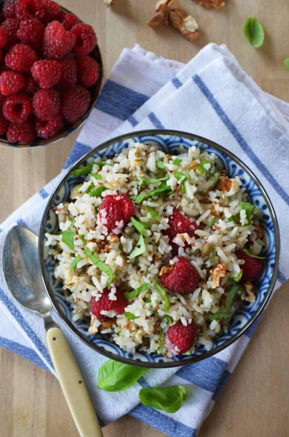 Grain Salad with Raspberries, Basil and Walnuts