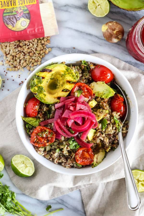 Grilled Avocado and Tomato Grain Salad