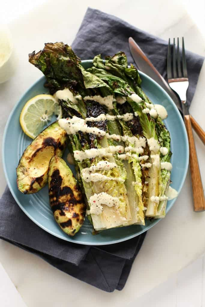 Grilled Avocado and Romaine Caesar Salad