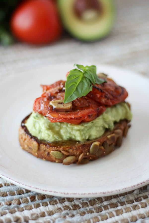 High Protein Avocado Toast with White Beans & Roasted Tomatoes