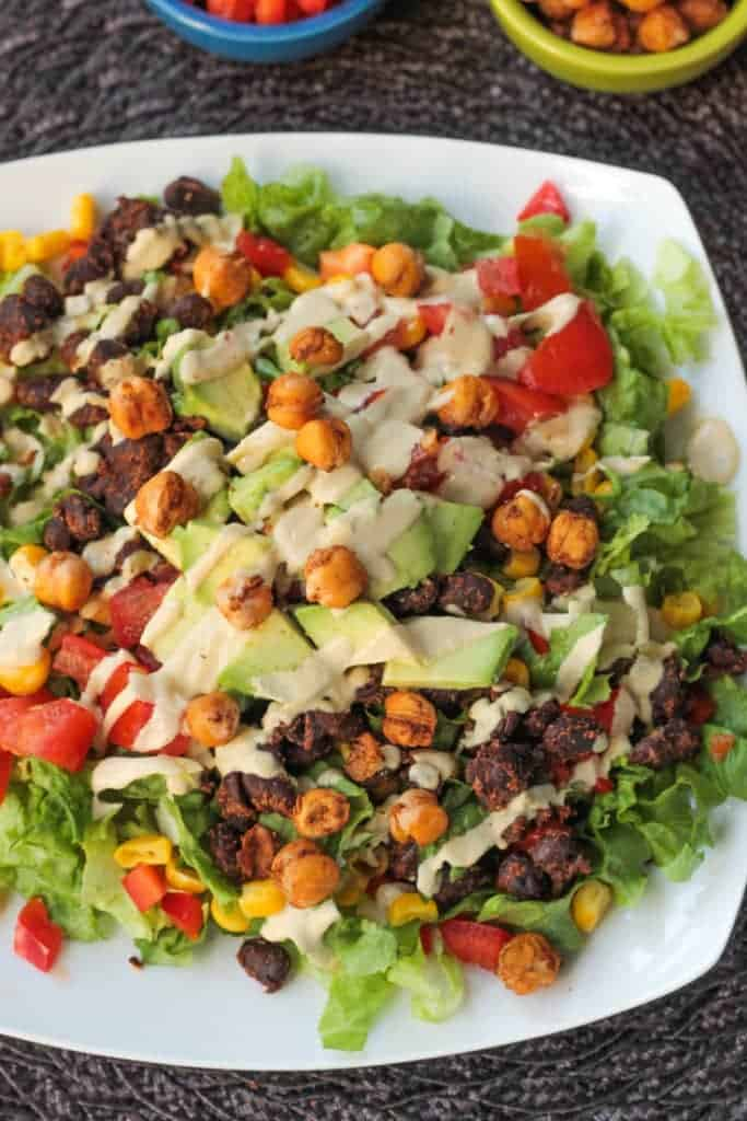 Lack Bean Taco Salad With Crunchy Roasted Chickpeas