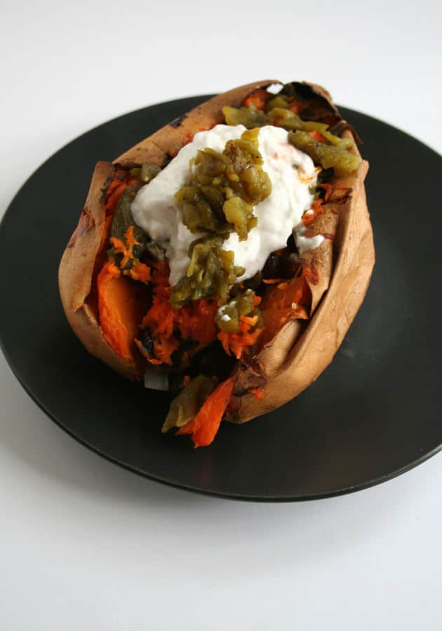 Loaded Sweet Potato with Spicy Black Beans and Green Chiles