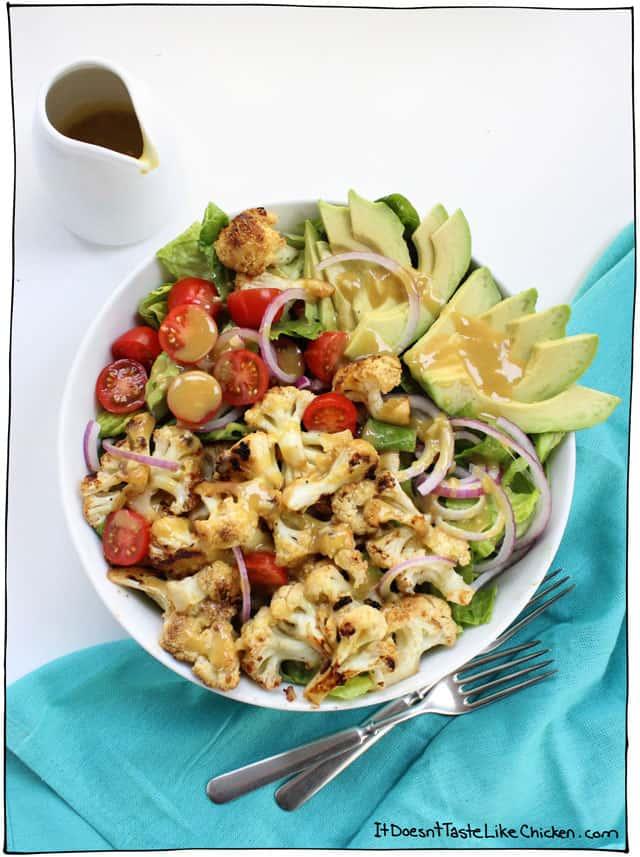 Maple Mustard Cauliflower and Avocado Salad