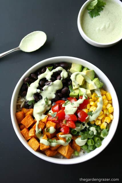 Mexican Sweet Potato Bowl with Cashew-Lime Cream