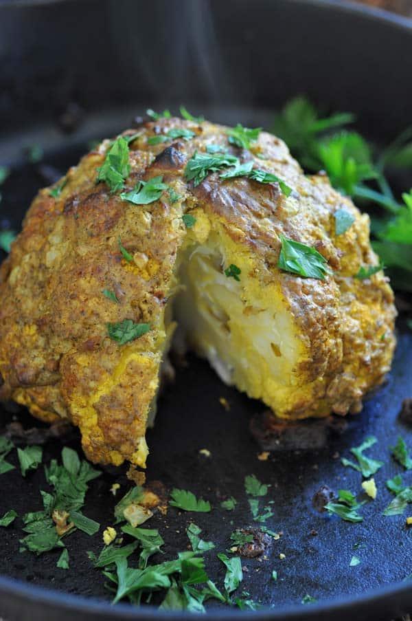 Middle Eastern Spiced Whole Roasted Cauliflower