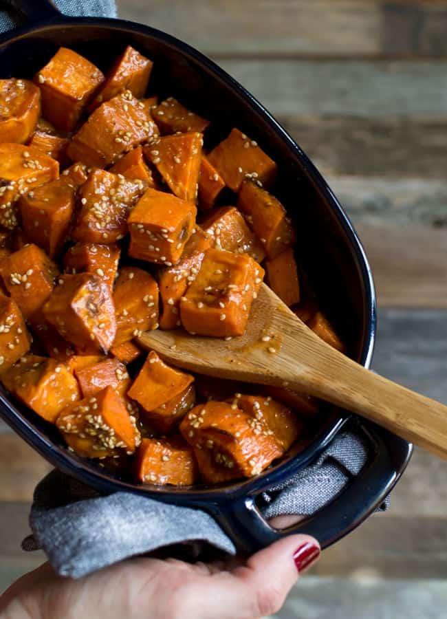 Miso Glazed Sweet Potatoes