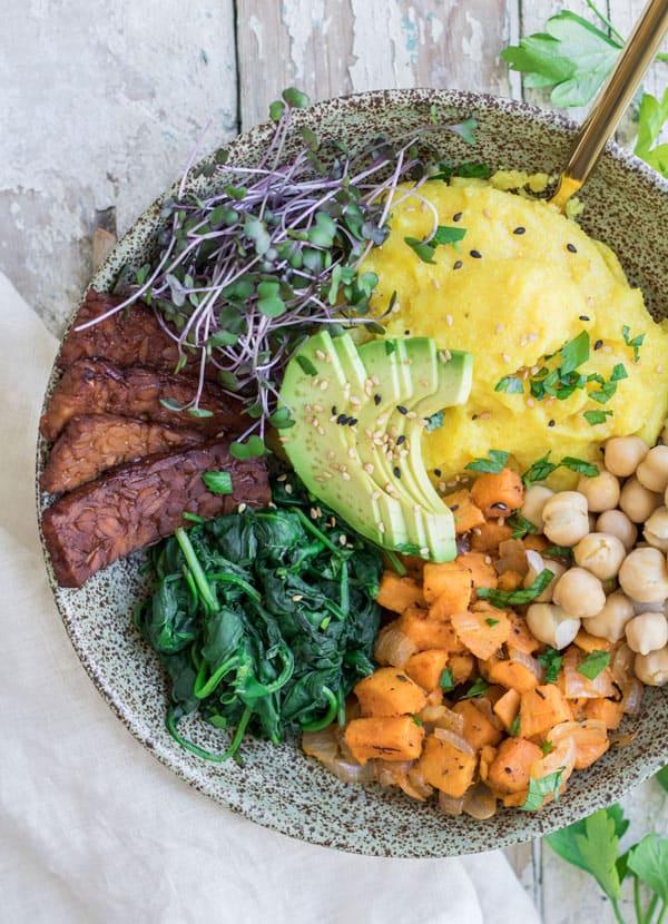 Nourishing Vegan Breakfast Bowl with Tempeh Bacon