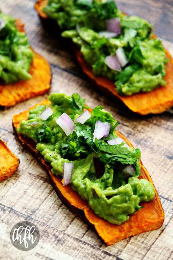"""Oven-Baked Sweet Potato """"Toast"""" with Spicy Guacamole (Gluten-Free)"""