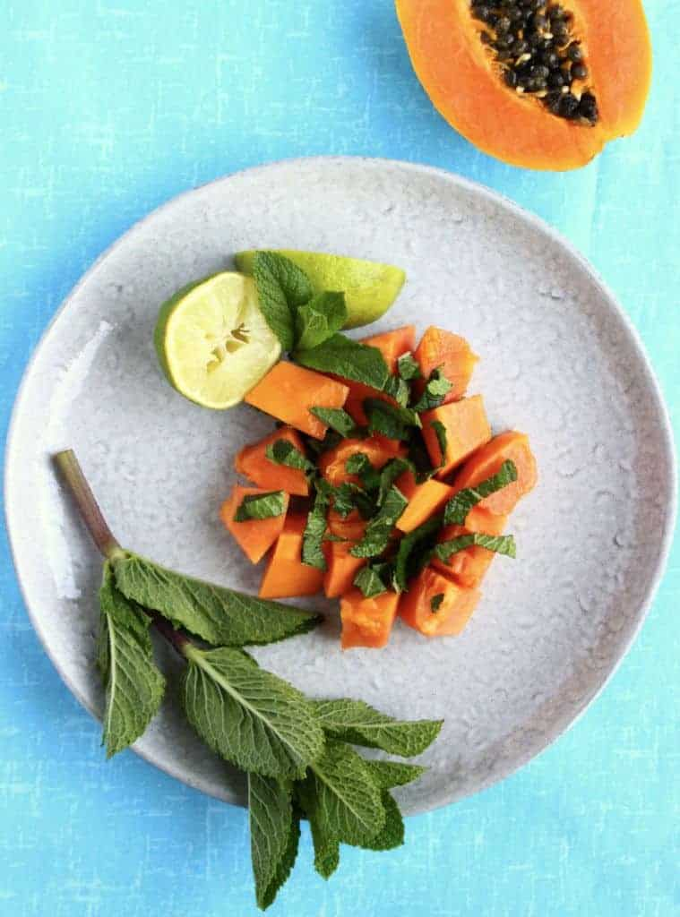 Papaya Mint Lime Salad
