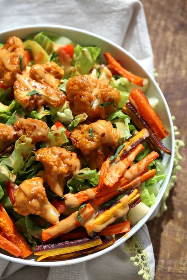 Peanut Butter Cauliflower Bowl With Roasted Carrots