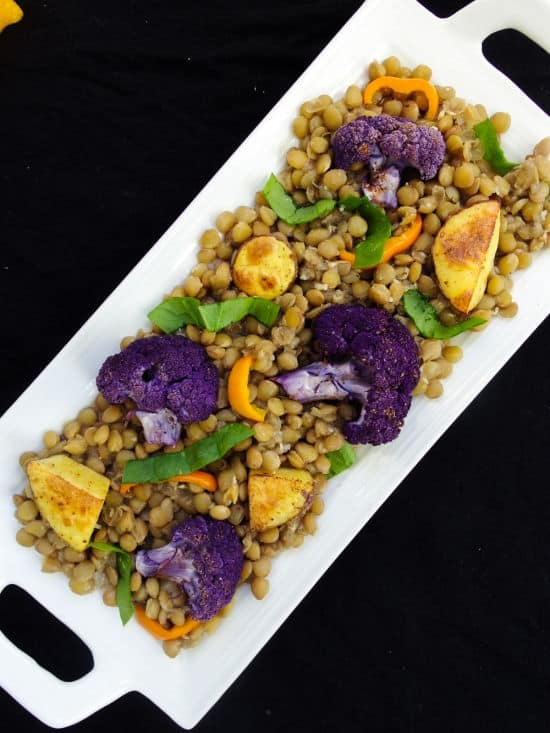 Persian Spiced Lentils with Roasted Cauliflower and Potatoes