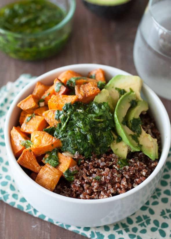 Quinoa and Sweet Potato Bowl with Chimichurri