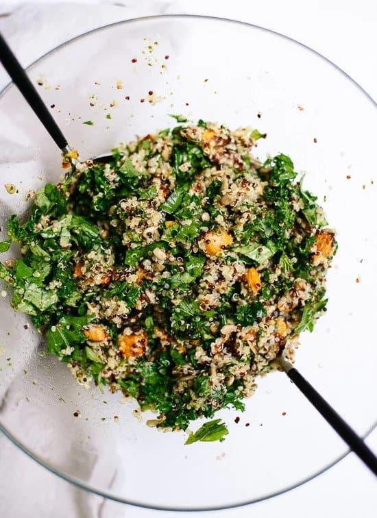 Quinoa Salad with Roasted Sweet Potato, Kale and Pesto Vinaigrette