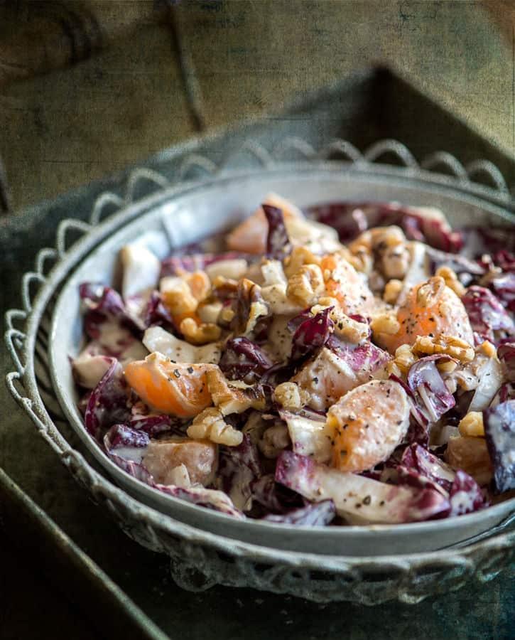 Radicchio, Fennel and Orange Healthy Dinner Salad with Tahini Dressing