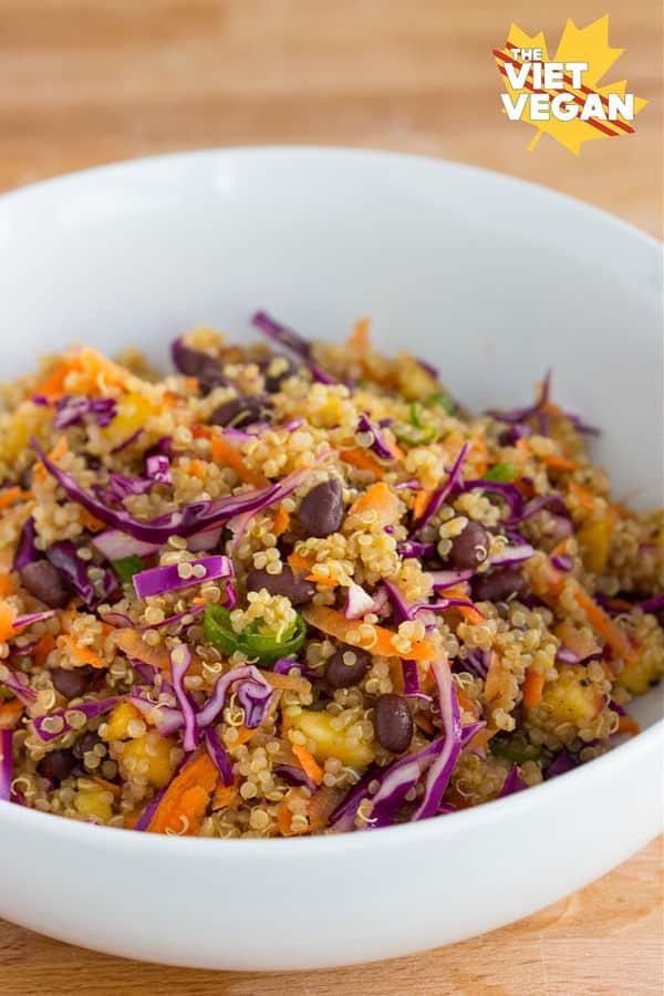 Rainbow Peach Quinoa Salad