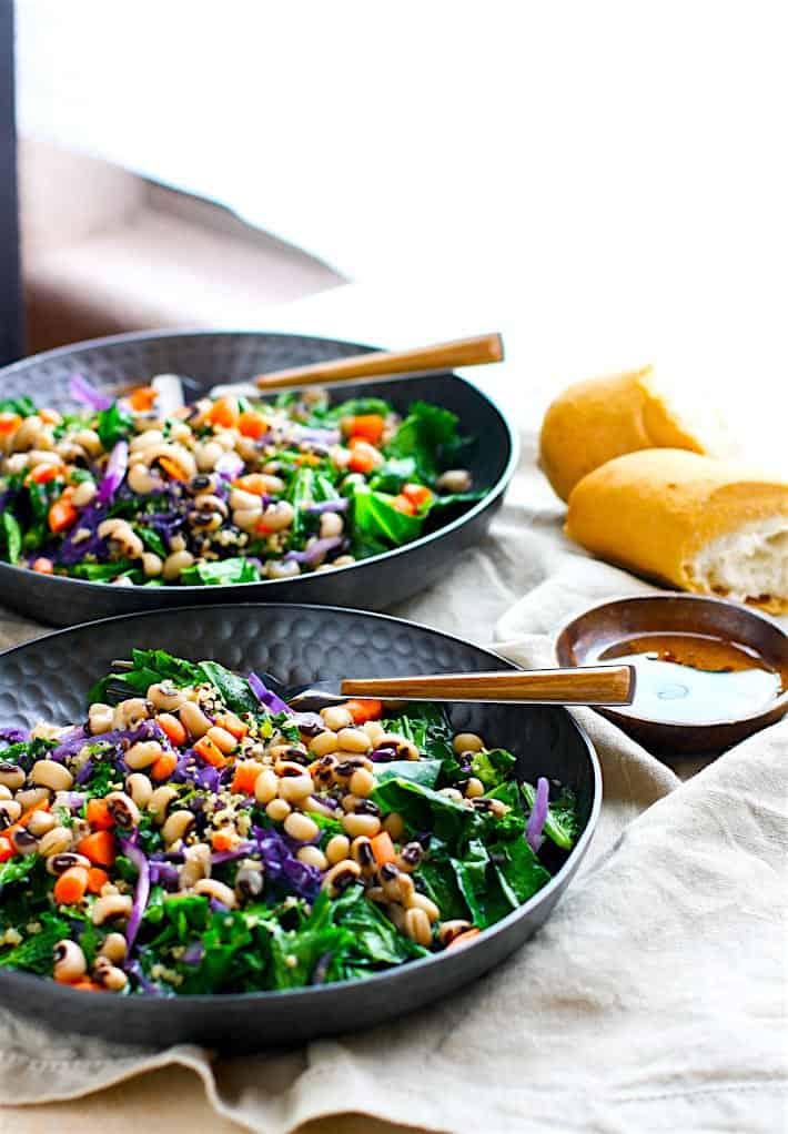 Rainbow Power Greens Salad with Black Eyed Peas