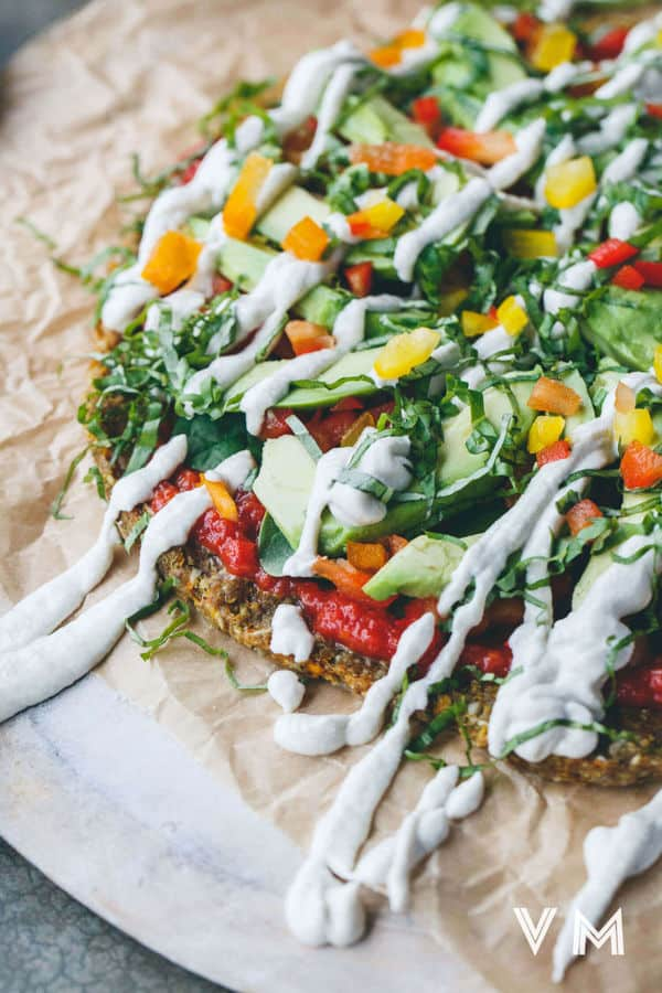 Raw Pizza with Butternut, Flax and Sunflower Crust