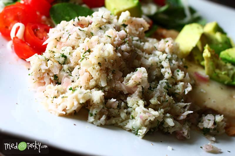 Riced Cauliflower with Dill, Parsley and Mint