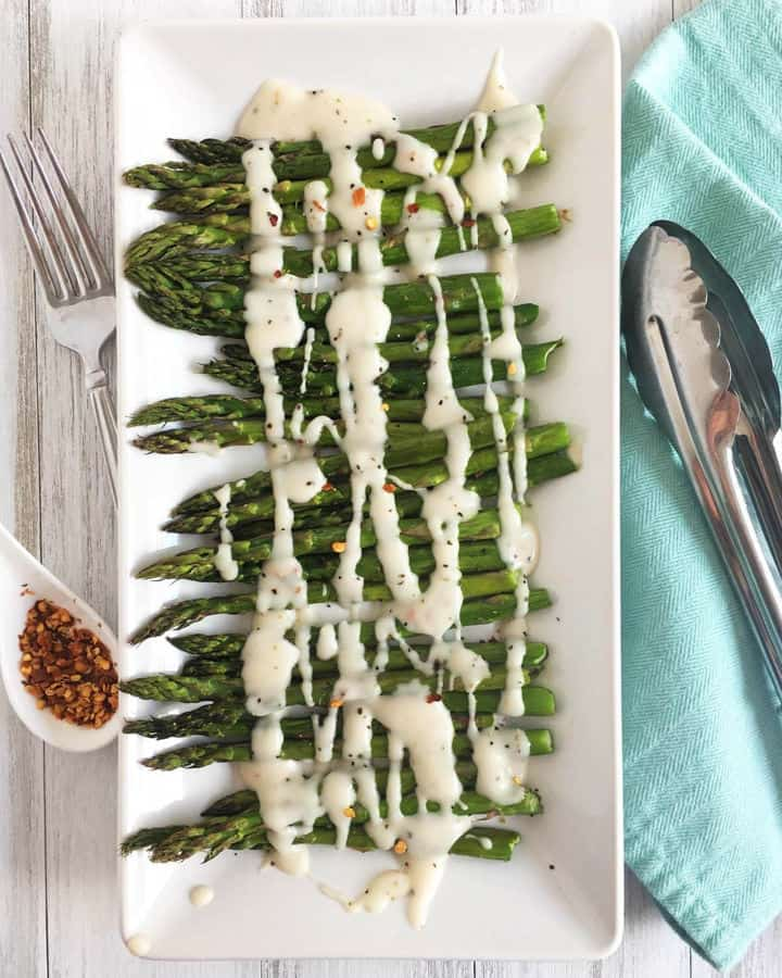 Roasted Asparagus with Cream Sauce – Vegan Side Dish