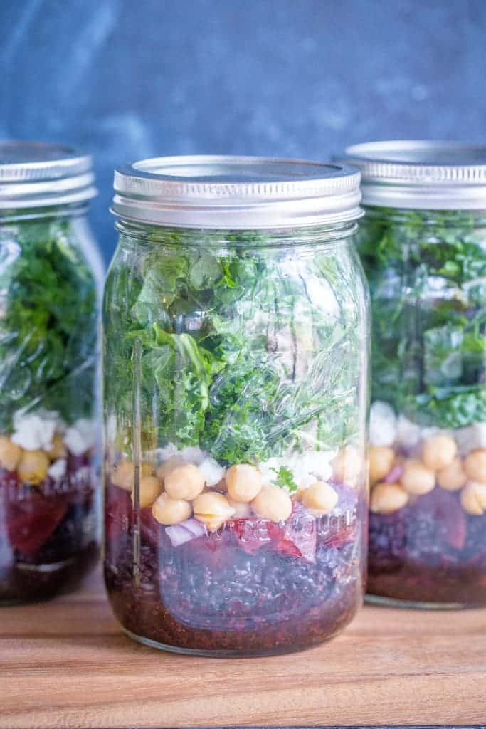 Roasted Beet, Chickpea And Black Rice Meal Prep Salads