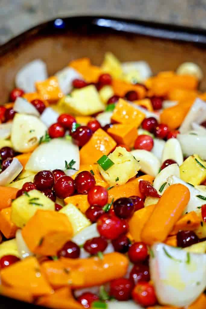 Roasted Sweet Potatoes, Cranberries and Pineapple