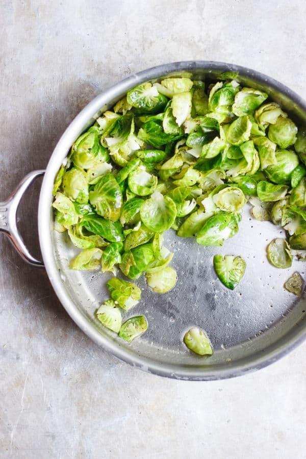 Sautéed Salt + Vinegar Brussels Sprout Leaves