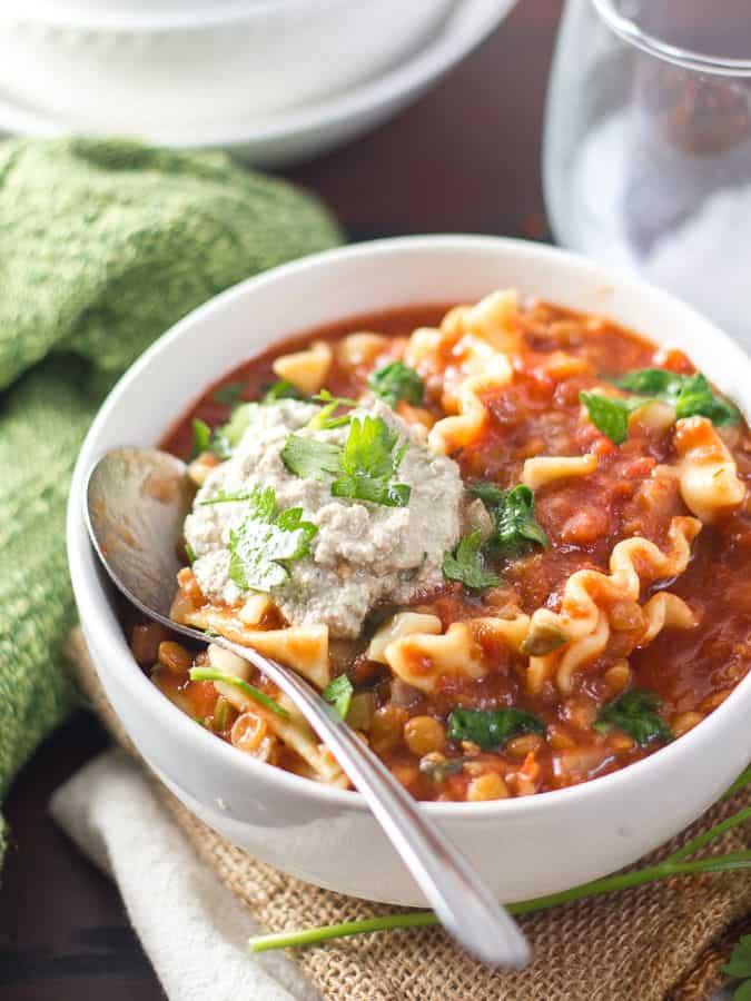 Slow Cooker Vegan Lasagna Soup
