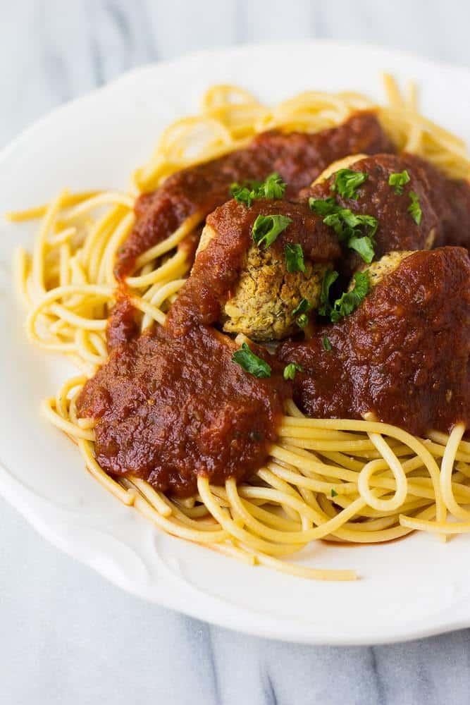 Spaghetti and Easy Vegan Meatballs
