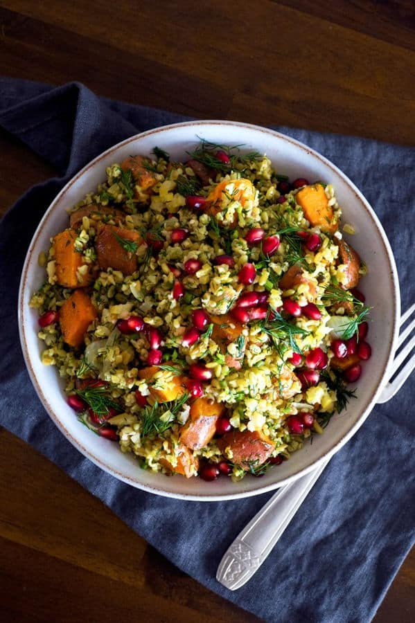Spiced Sweet Potato and Freekeh Salad with Pomegranate