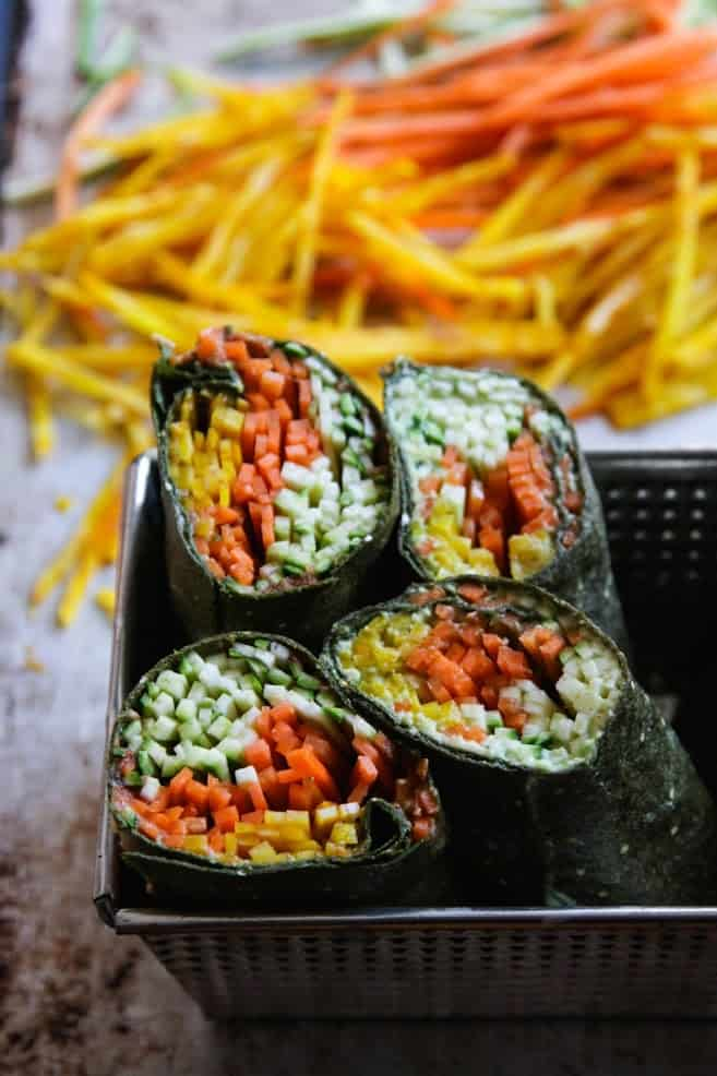 Spinach Tortillas Filled with Mashed Avocado and Shredded Veggies