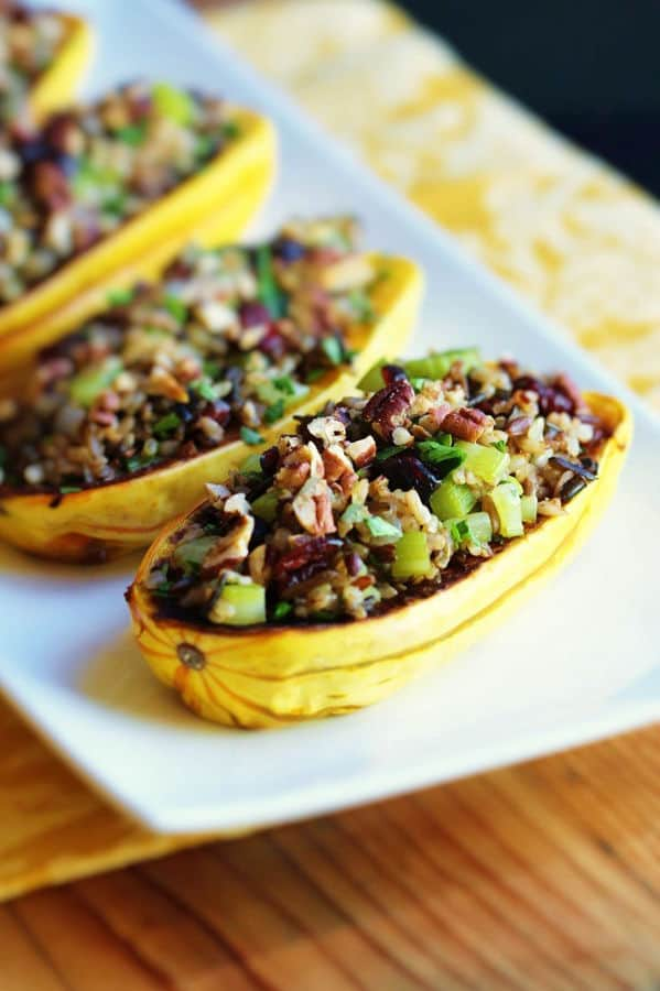 Stuffed Delicata Squash with Holiday Rice