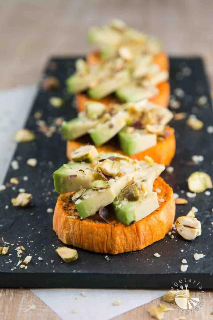 Sweet Potato Avocado Toast with Hemp Seeds and Pistachios